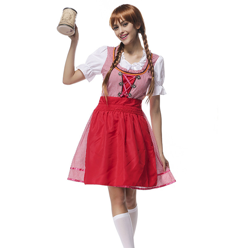 hot sale scottish red grid maid waiter dress cosplay uniform mujer party bar beer girls dress - Scottish Girl Halloween Costume