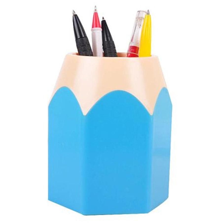 Pen Holders Official Website Stick On Desktop Pen Holder Makeup Storage Pot Case Plastic Desk Organizer Stationery Holder Pencil Vase #921 New Desk Accessories & Organizer