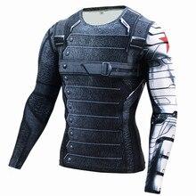 Neue 3D Winter Soldier Avengers 3 Kompression Shirt Männer Sommer Langarm Fitness Crossfit T Shirts Männliche Kleidung Enge Tops