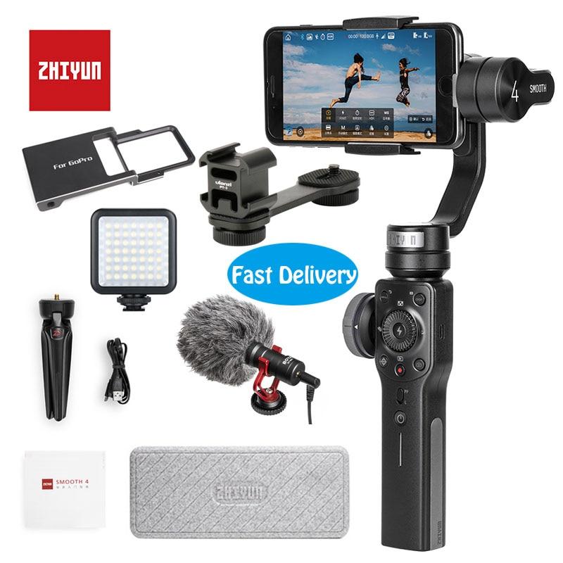 Zhiyun Suave 4 3-eje cardán portátil estabilizador de cámara de montaje para Smartphone iPhone y Android y de acción Gopro cámara