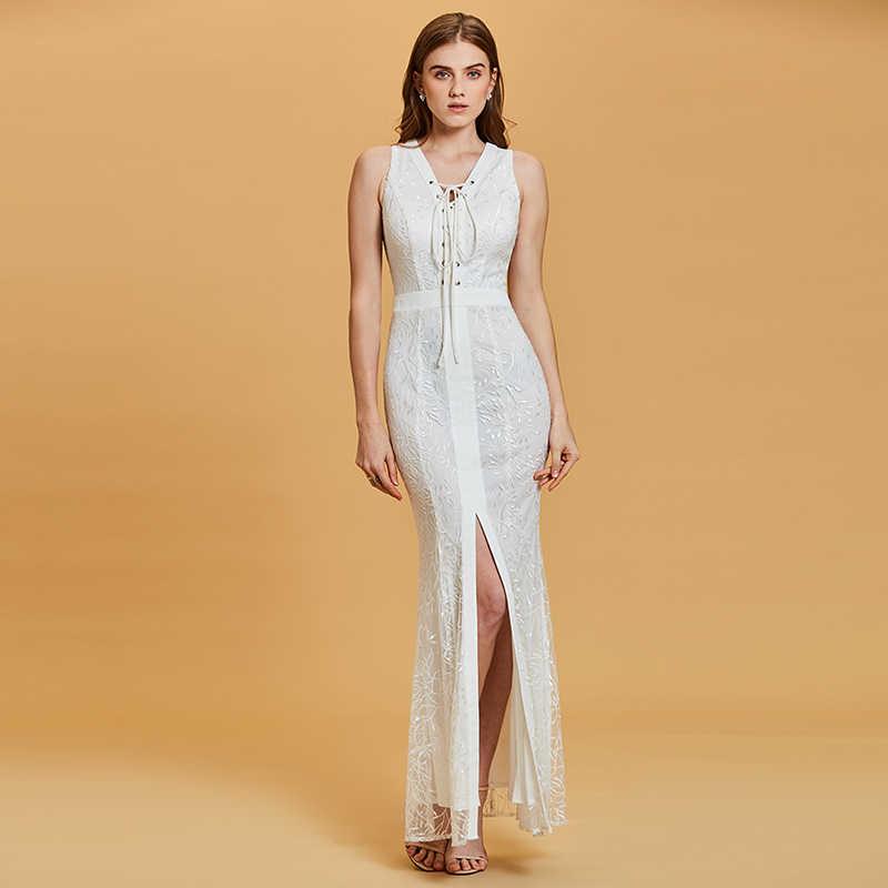 ... Tanpell Русалка длинное вечернее платье белого цвета без рукавов  Кружева этаж Длина платья дешевые женские v ef092f459512d