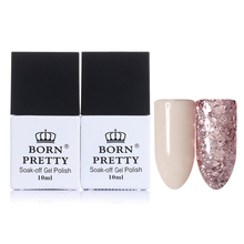 BORN PRETTY Nude Nail Gel Pink Glitter Sequins Gel Polish Lacquer 10ml Soak Off Long Lasting Nail Art UV Gel Polish Varnish