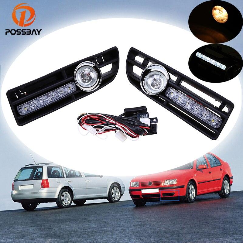 POSSBAY Car Fog Lights Daytime Running Halogen LED Foglamps for 1999 2000 2001 2002 2003 2004