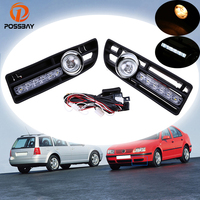 POSSBAY Car Fog Lights Daytime Running Halogen/LED Foglamps for 1999 2000 2001 2002 2003 2004 2005 2006 2007 VW Bora Jetta MK4