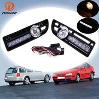 POSSBAY Car Fog Lights Daytime Running Halogen/LED Foglamps for 1999 2000 2001 2002 2003 2004 2005 2006 2007 VW Bora Jetta MK4