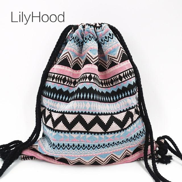 LilyHood Summer Teenager Cute Backpack Pastel Baby Pink Blue Boho Gypsy Bohemian Chic Hippie Tribal Drawstring Rucksack Bags