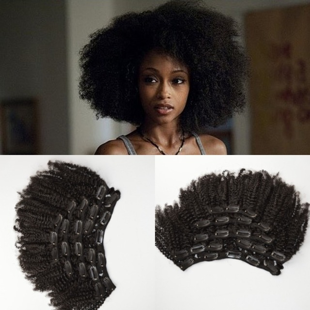 Shipping Free Virgin Mongolian Human Hair 4a/4b/4c Afro Kinky Curly Clip In Hair Extensions For Black Woman