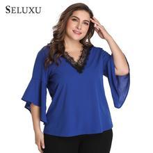Seluxu 2019 Autumn Elegant Plus Size Women Shirt  Patchwork Tops Sexy V Collar Chiffon Lace Flare Sleeve
