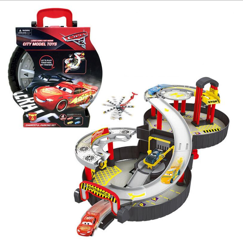 New Children Assembled Tire Track Parking Lot Toy Model Anime Action Figure Juguetes Kids Toys+2 Alloy Car Christmas Gifts les enfants pj racing mission cruiser car dessin maskmm toy anime pj car big truck display jouet children bithday gift toys