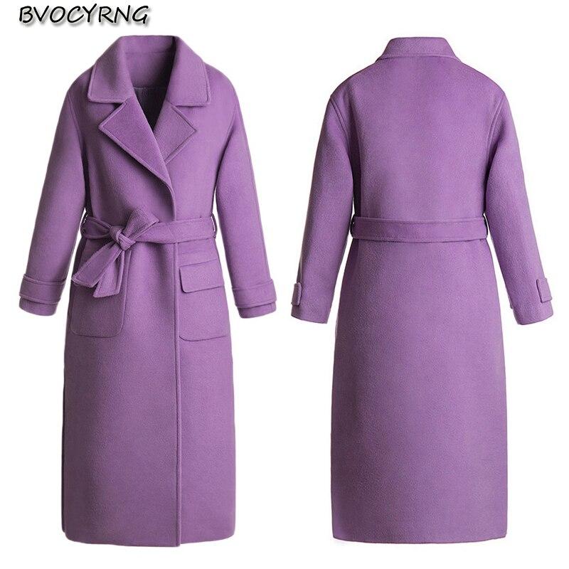 purple Et Épaissir Mode 2018 Long Nouvelle Parka Laine Hiver Black Automne Vêtements Élégante Veste De D'hiver Femmes Manteau qTwxS0gTz
