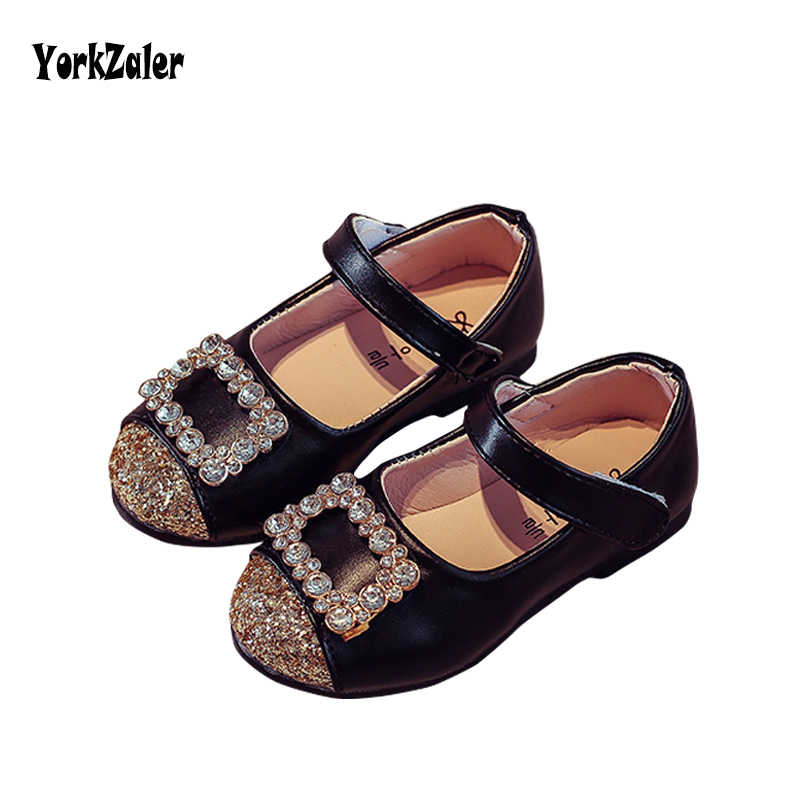 Yorkzaler kids Girl Princess Shoes 2018 Spring Autumn Sequins Rhinestone Leather  Girl Single Shoes Toddler 64806e061510