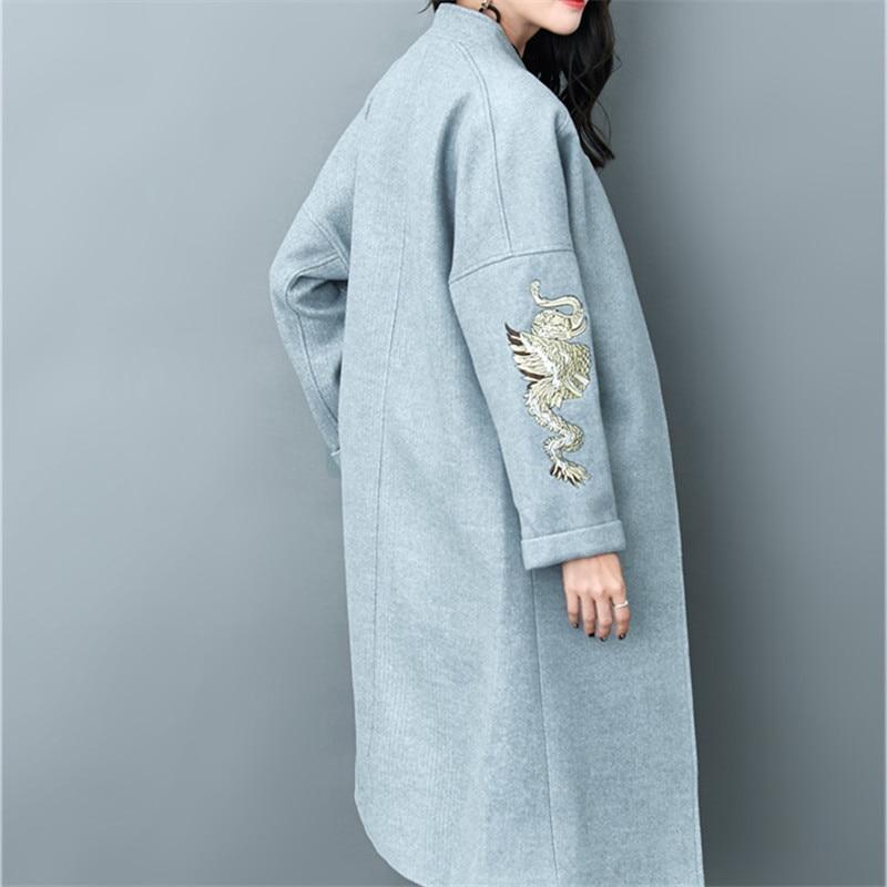 2018 De Élégant Printemps Designer Qualité Mode Mince Long Broderie Haute Manteau Femmes UpYpqEwr