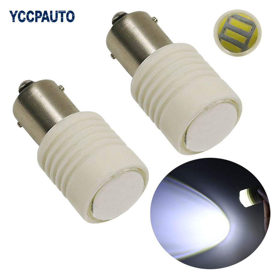 1156 Ba15s 7020 Car Led Lights Xenon White High Power 6W Ceramic Shell Car Tail Brake Reverse Parking Light bulb DC12V 2Pcs