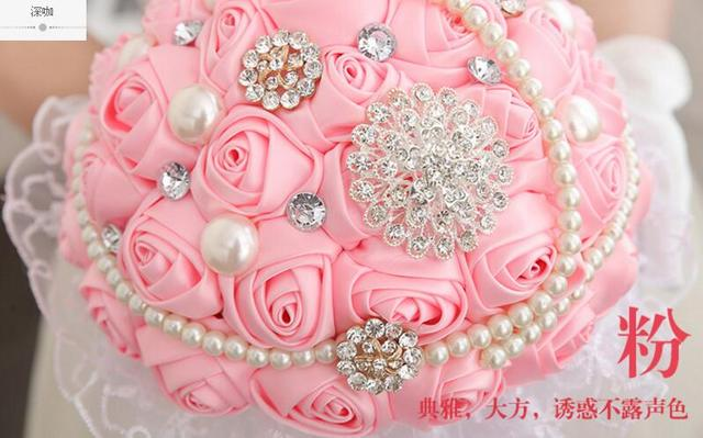 Best Selling Ivory Pink Brooch Bouquet Wedding Bouquet de mariage Polyester Wedding Bouquets Pearl Flowers buque de noiva
