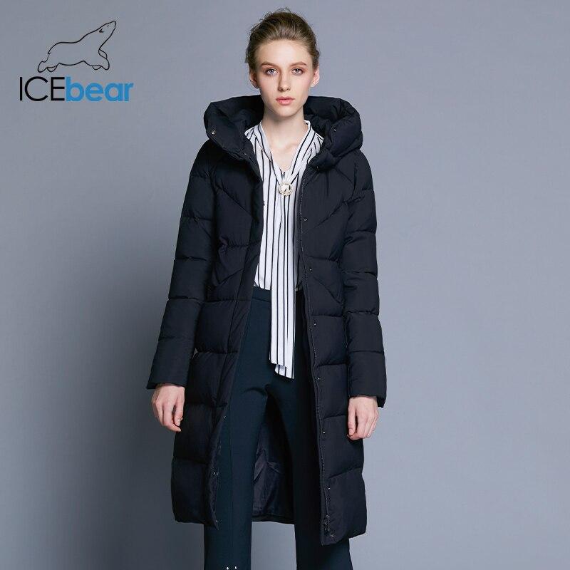 ICEbear 2018 Новинка высококачественная женская зимняя теплая куртка простой манжет дизайна ветрозащитная куртка модная фирменная женская курт...