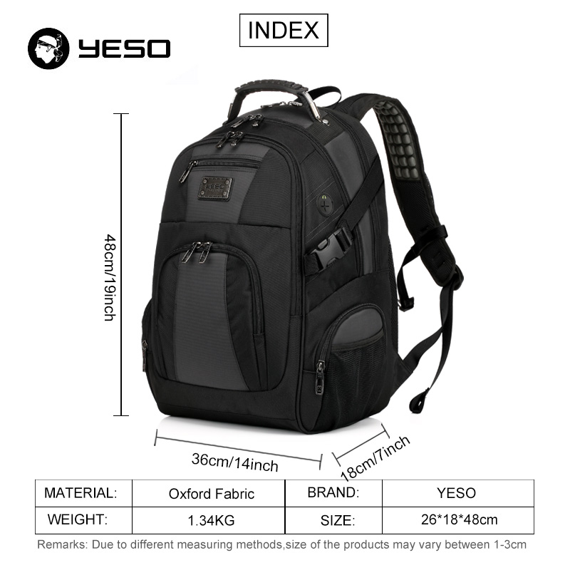 Image 2 - YESO Large Capacity Laptop Backpack Men Multifunction Waterproof 15.6inch Backpack For Teenagers Business Casual Travel Backpack-in Backpacks from Luggage & Bags