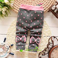 2016 Spring and Autumn Baby Girls sweet Leggings ,Infant dot 2 patchwork bowknots thin/thick Leggings pants,V1580