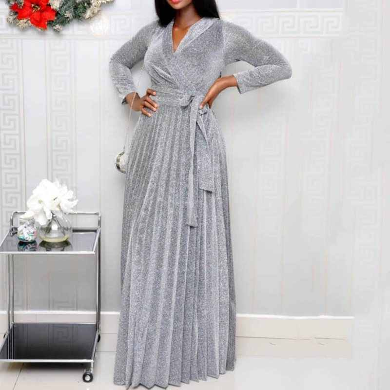 Summer Elegant Office Ladies Sexy Club Party Women Long Dresses 2019 Pleated Gray Pleated Lace Up Fall Female African Maxi Dress