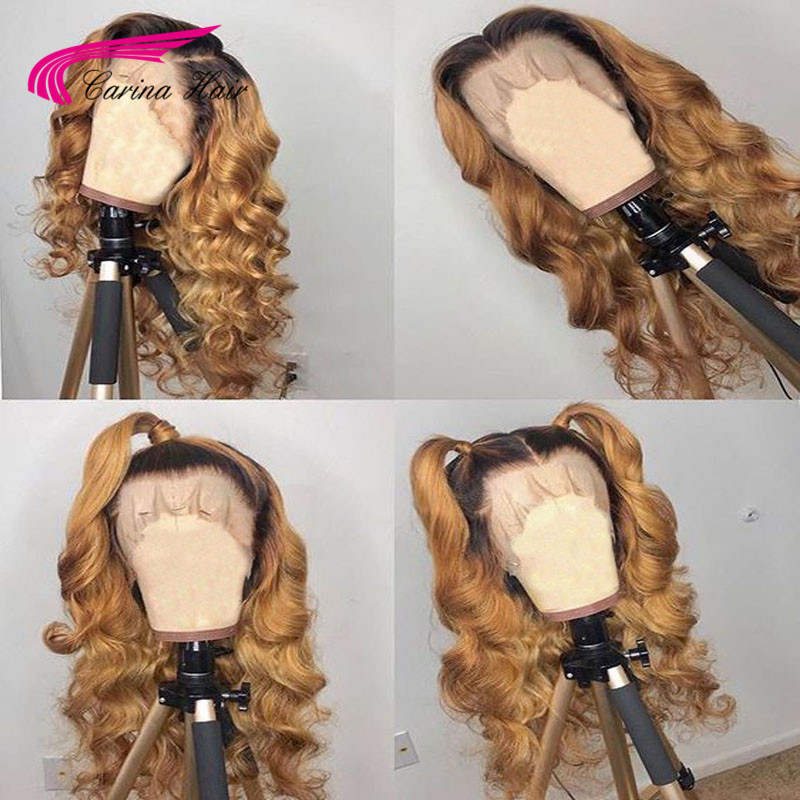 Carina #4/27 Lace Front Human Brazilian Remy 13*3 Lace Front Wig With Black Dark Roots Loose Wave With Baby Hair