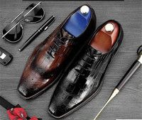 2018 spring new shoes men Europe and the United States Oxford shoes carved square toe lace up wedding handmade embossed shoes