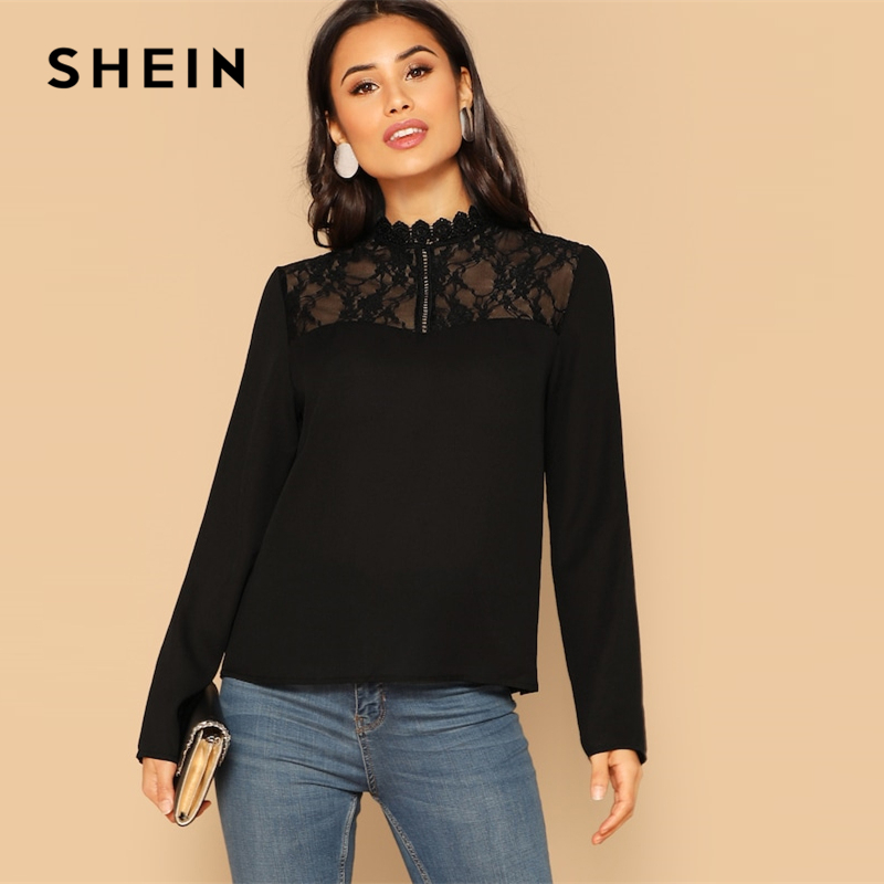 SHEIN Black Mock Neck Stand Collar Contrast Lace Shoulder Plain Blouses 2019 Spring Elegant Women Long Sleeve Tops And Blouses