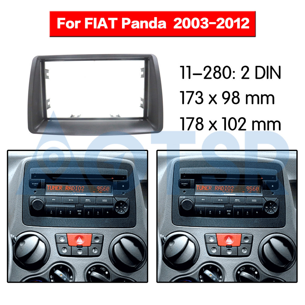 2 din Radio Fascia for FIAT Panda (169) 2003-2012 Audio Panel Mount Installation Dash Kit Frame Adapter Radio Stereo DVD CD ABS