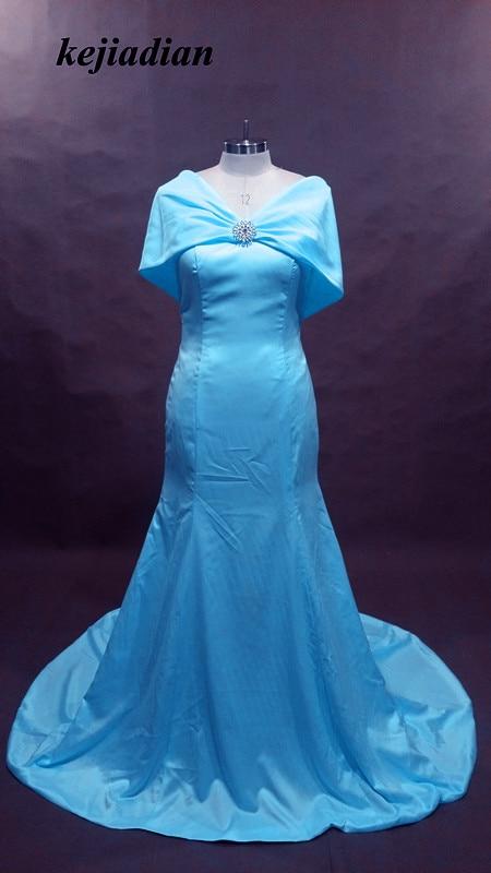 Modest Champagne Royal Blue Bridesmaid Dress Mermaid Floor Length ...