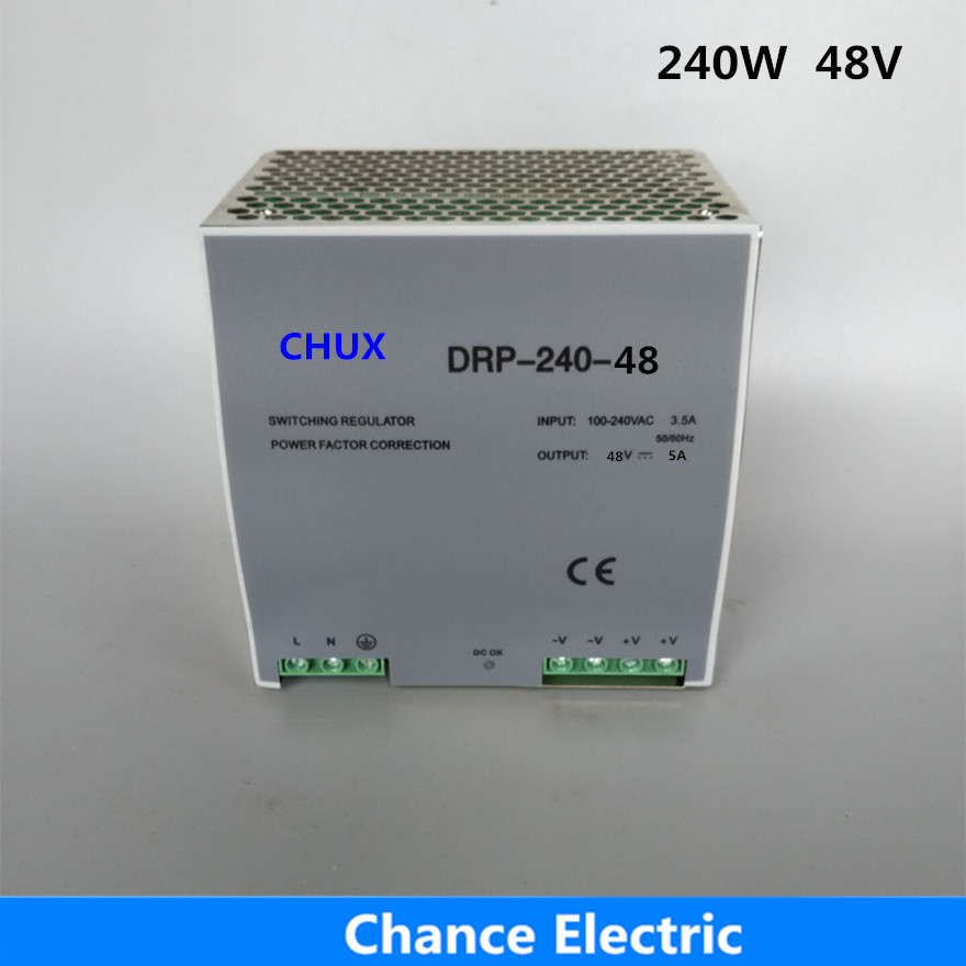 din rail switching power supply  5A Single Output  AC dc input SMPS DR240w-48v for cnc led light ac dc dr 60 5v 60w 5vdc switching power supply din rail for led light free shipping
