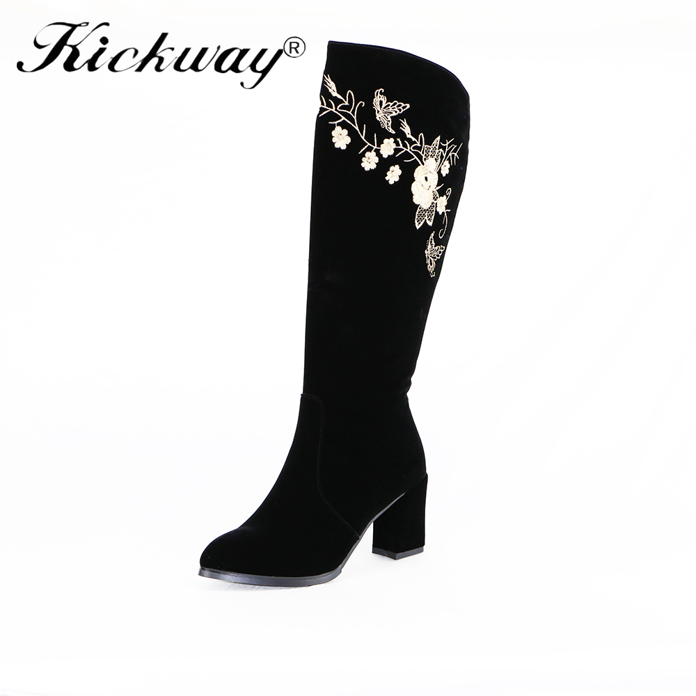 Kickway womens knee boots heel Winter warm Boots floral embroidery boots Shoes For Woman Sapatos Femininos plus size botas 40 plus size floral embroidery dress