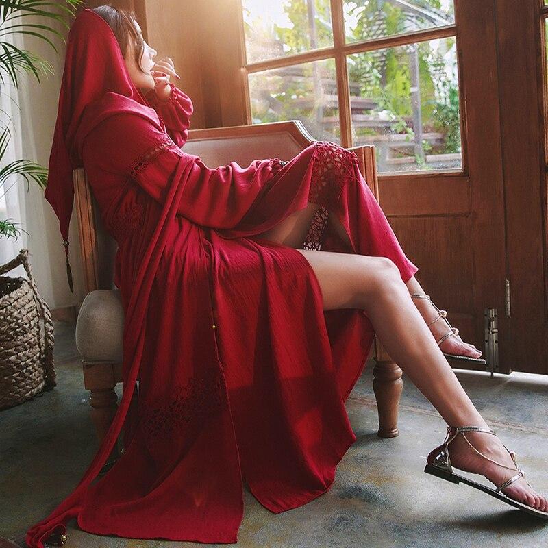 Vintage Wine Red Boho Maxi Dress Hooded Autumn Linen Deep V neck Sexy Crochet Long Sleeve