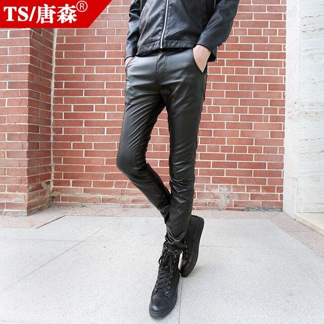 7c260c2b2fc 2016 Мужская мода осень зима мужской тонкий кожаный Штаны обтягивающие  штаны брюки