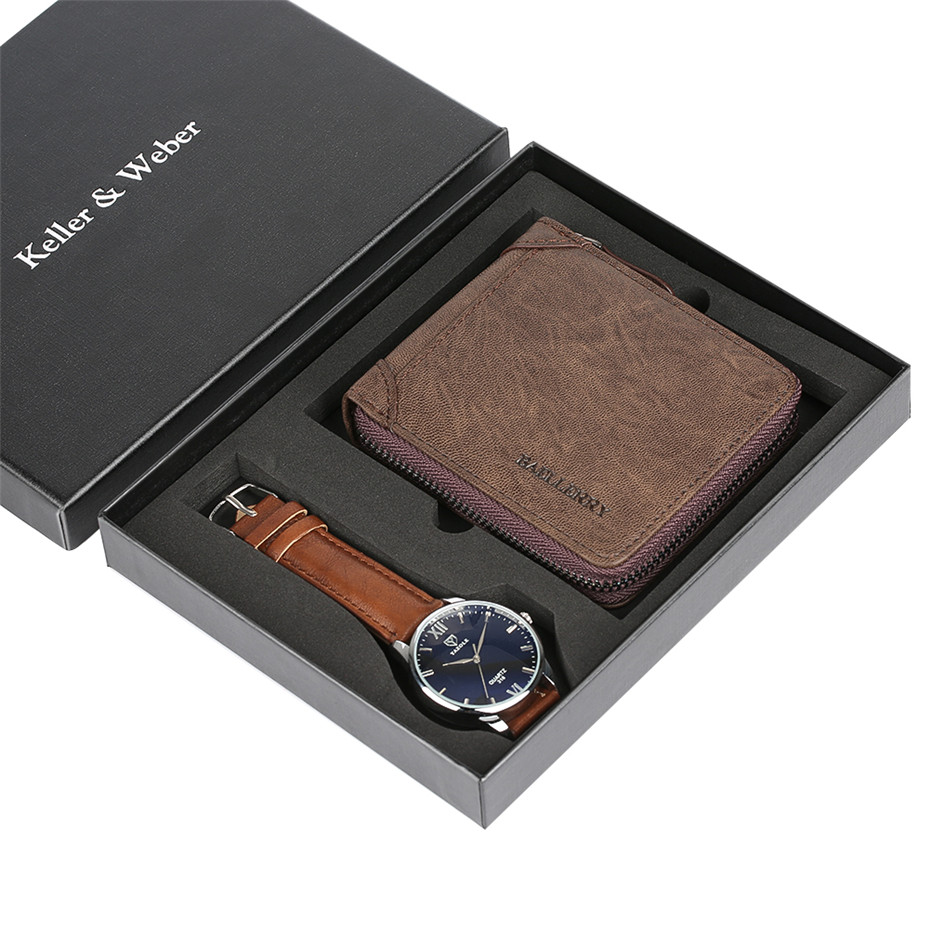 Luxury Mens Watch Leather Wallets Clock Male Relogio Gift Set Box with Vintage Wallet Zipper Pouch Coin Pocket Purse Cowhide