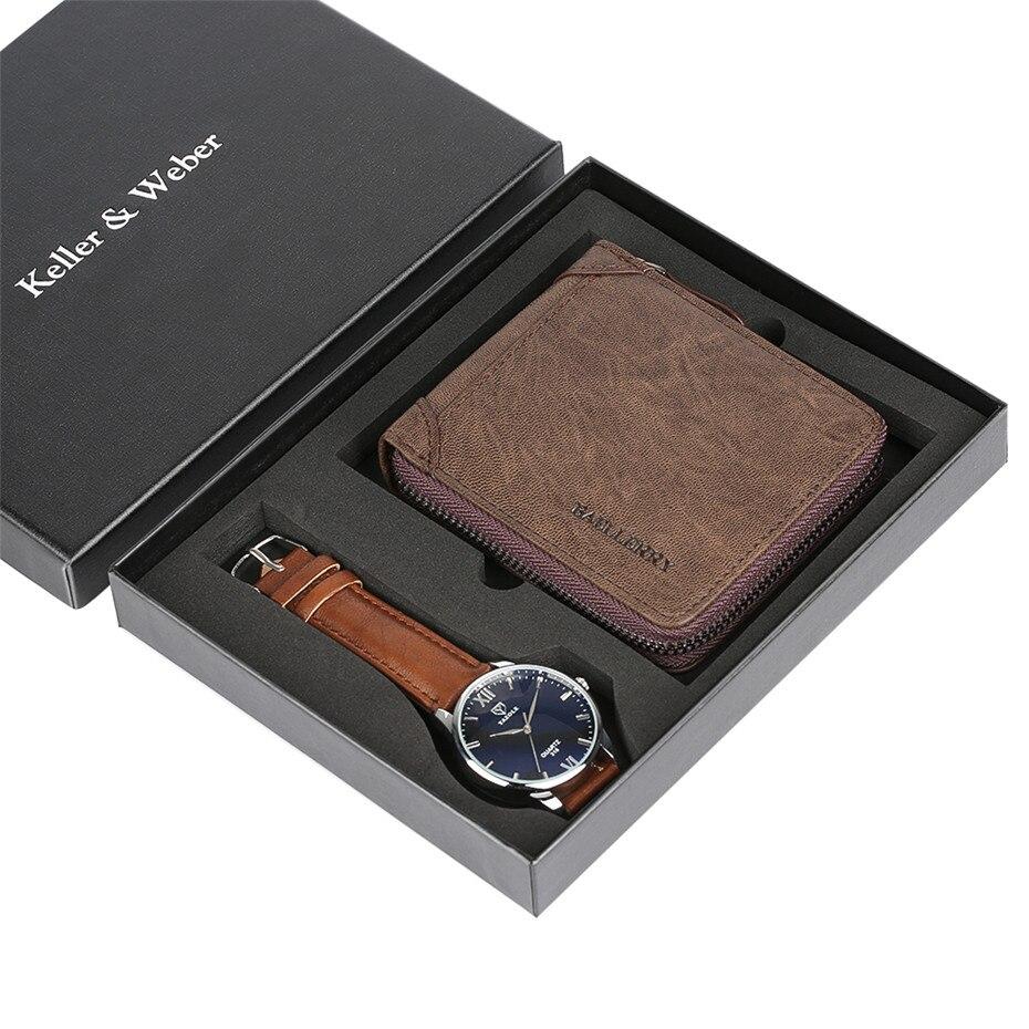 все цены на Minimalist Business Mens Watch reloj masculino Quartz Wristwatch Wallet Gift Set for Father Luxury Man Birthday Gifts for Male