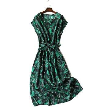 4a91bbb9ee8 Женское летнее шелковое платье с v-образным вырезом листья принт Винтаж  натуральный шелк платья Зеленый элегантное платье Повседневный пра.