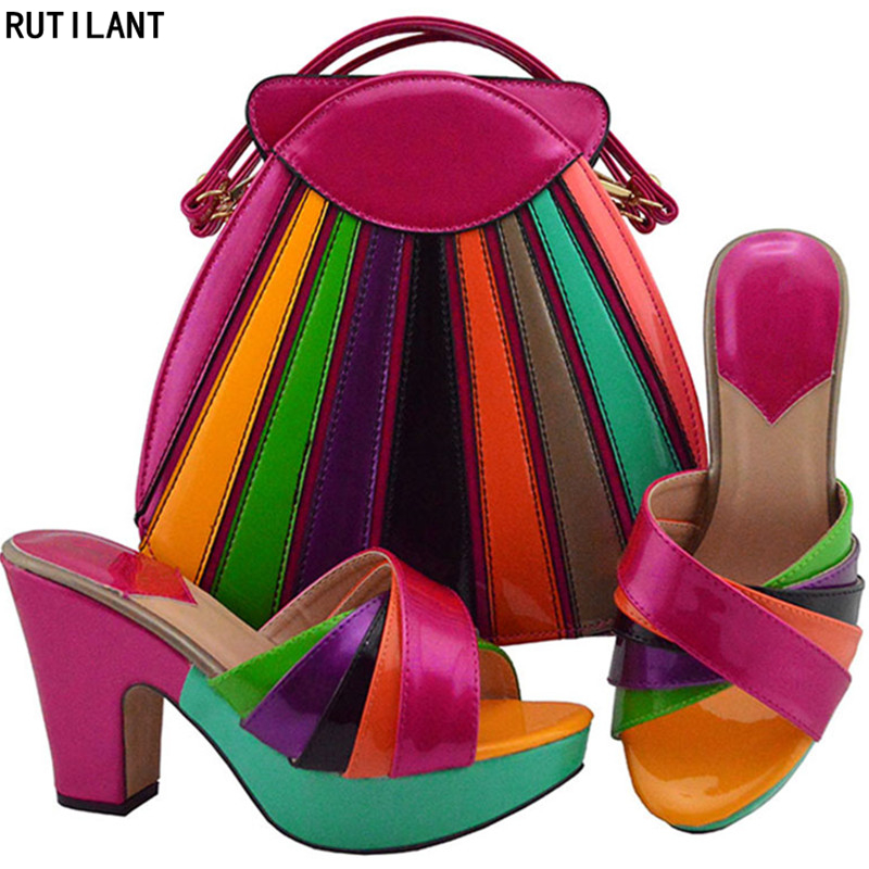 New Fashion 2018 African Shoe And Bags Matching Set Nigerian Shoes And Matching Bags Elegant Women Wedding Shoe Colorful Pumps