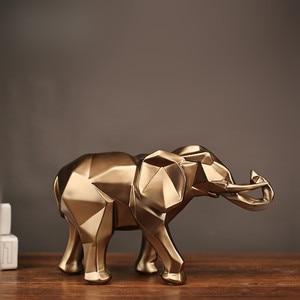 Image 2 - 幾何学的抽象黄金象の彫像樹脂動物クラフト家の装飾象の彫刻装飾創造的なギフト