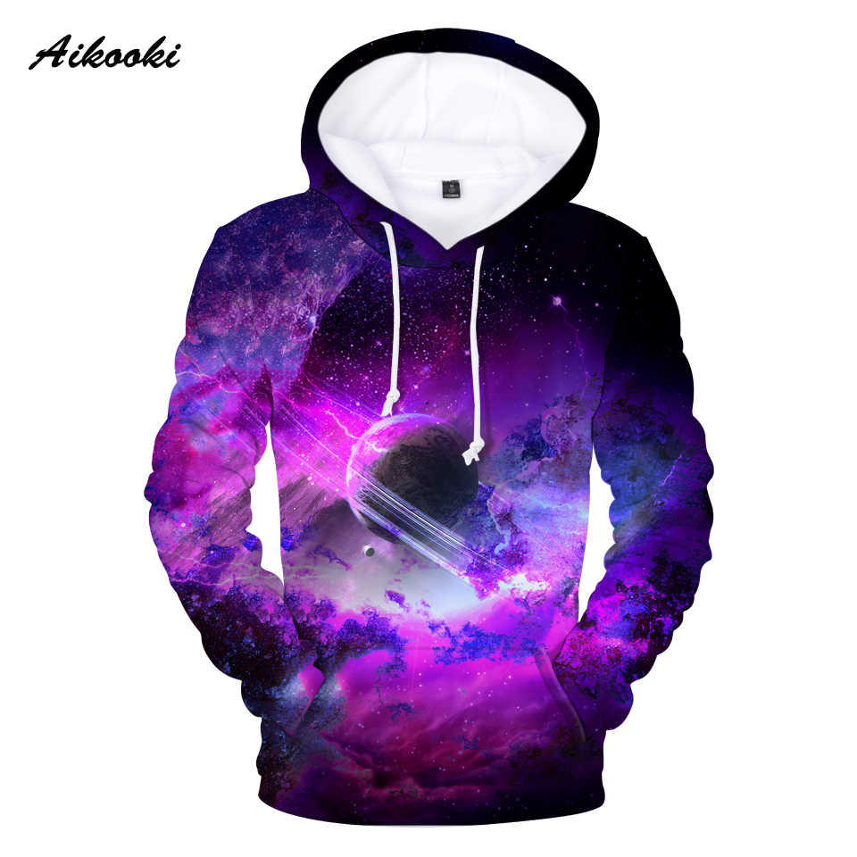 Aikooki Space Galaxy 3D Hoodies Sweatshirts Men /Women Hoodies 3D Full Print Sky And Moon Fashion Winter Hooded Polluvers Hoody