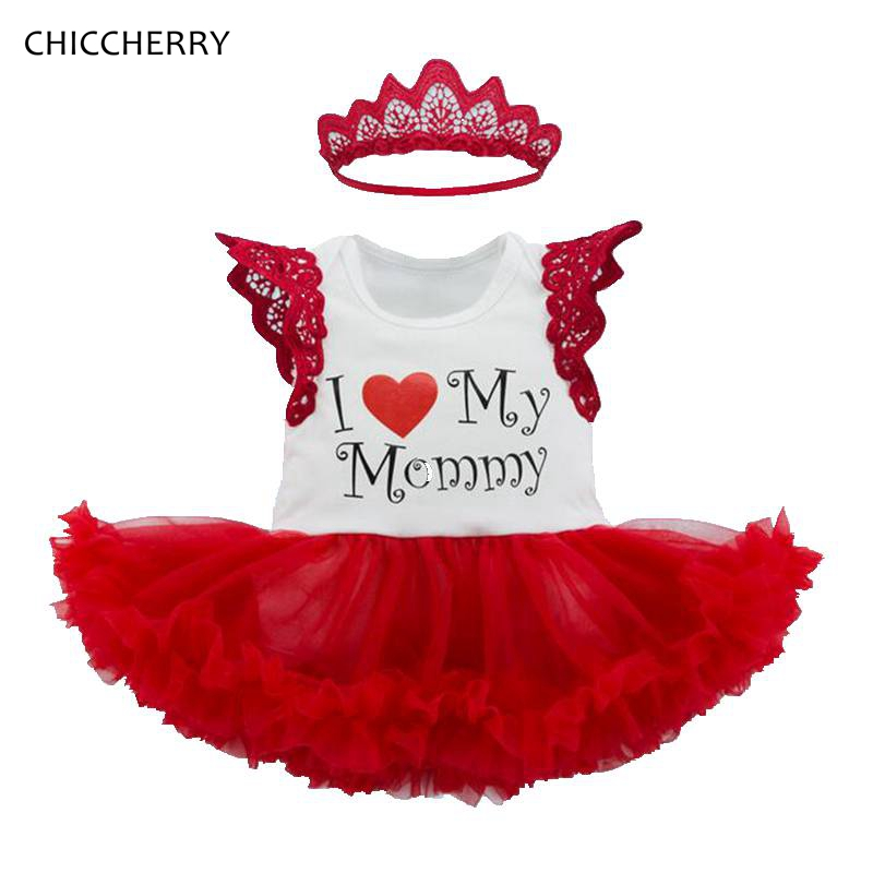 I Love My Mommy Lace Tutu Baby Summer Dress with Headband Baby Girl Clothes Vestidos Robe Bebe Fille Jurken Infant Clothing