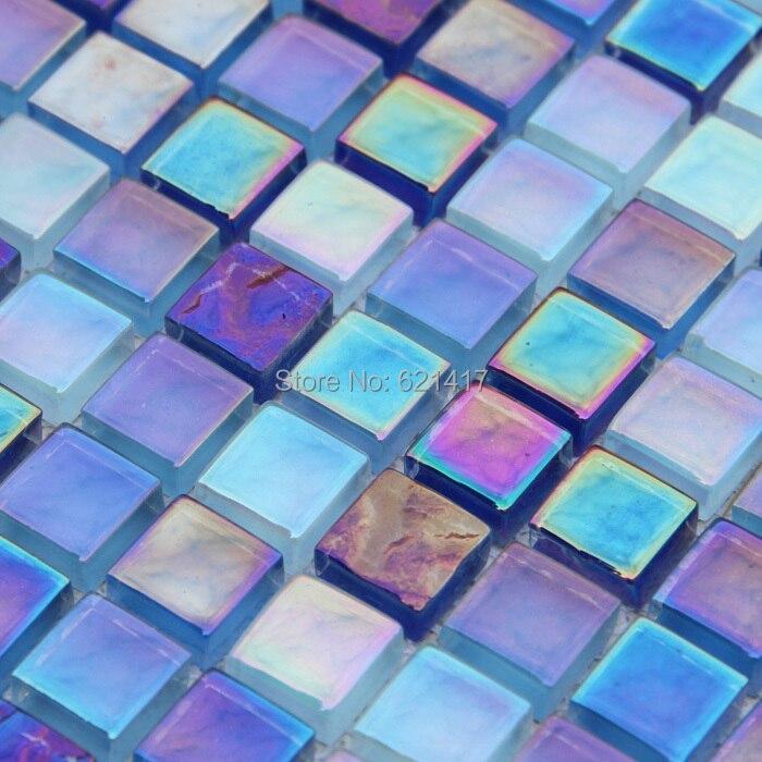 Multicolore bleu carreaux de mosaïque de verre cuisine ...
