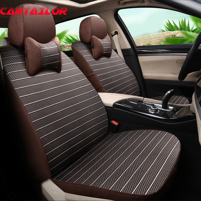 CARTAILOR Seat Covers For Subaru Forester 2013 2014 2015 Car Cover Set Linen Protector Cars Interior Accessories