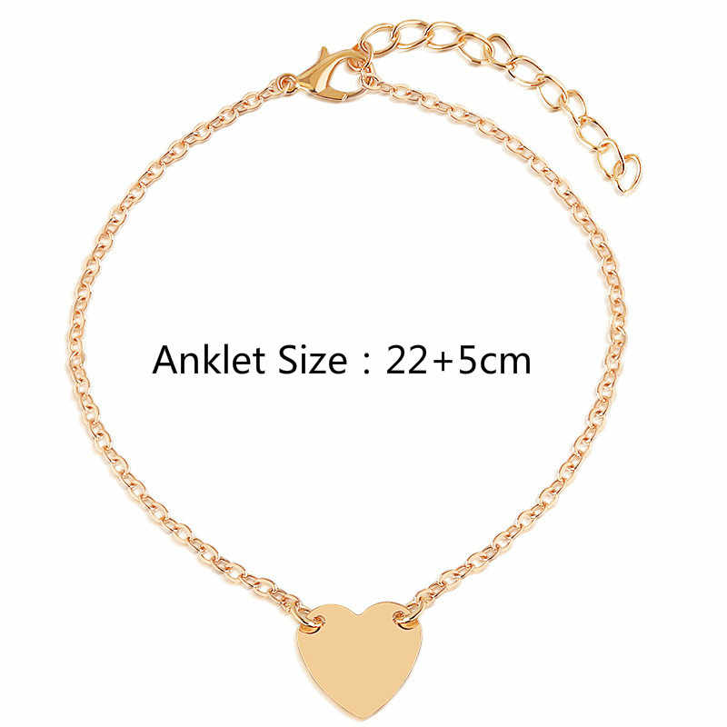 Moda w kształcie serca kobiety obrączki boso szydełkowe sandały biżuteria na stopy bransoletki obrączki