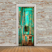 3d effect green wooden door stickder self adhesive shop bar wall picture home decoration wall poster