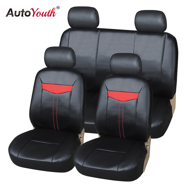AUTOYOUTH Luxury PU Leather Car Seat Cover Full Set Universal Fit Most Cars For Toyota Lada