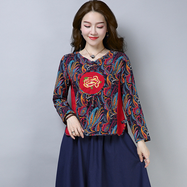 6fae1442f99 Chinese Style Cotton And Linen Printed Women T-shirt Elegant Female Autumn  Long-sleeved Loose Tee New Applique Embroidered Shirt