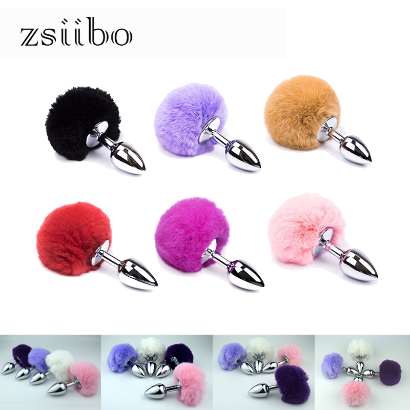 Multiple Colour Metal Rabbit Tail Anal Plug Stainless Steel Bunny Tail Stimulation Anus Adult Beads Sex Toy Couple QQGS10