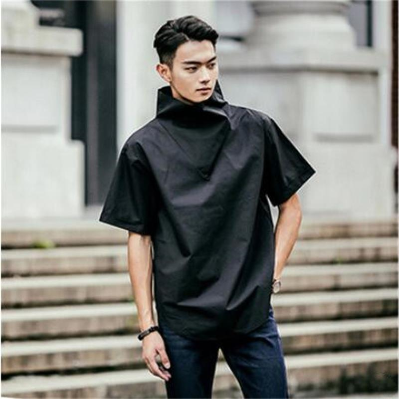 New Korean Fashion Casual Personality Original Design Men Shirts High-collar Short Sleeve Hip Hop Loose Men Blouse