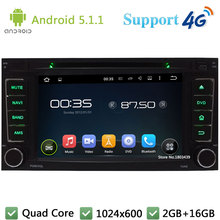 Quad Core 7″ 1024*600 Android 5.1.1 Car Multimedia Player Radio 3G/4G WIFI DAB+ GPS Map For VW Touareg T5 Multivan Transporter