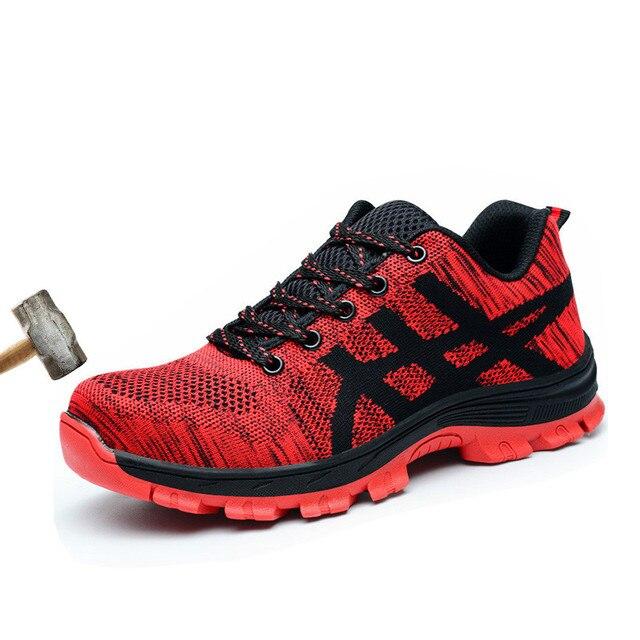 Niezniszczalny obuwie ochronne dla mężczyzn w pracy ze stali Toe obejmuje buty robocze oddychające letnie buty Mesh Sneakers rozmiar 46