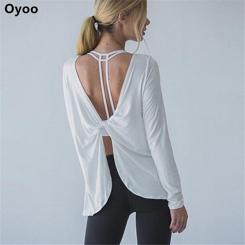 Oyoo twist retour manches longues drapé formation sport top solide blanc léger yoga t-shirt lâche de femmes blouse