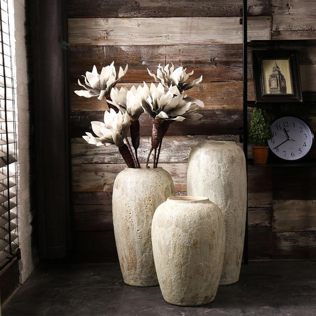 Large Vase For Living Room Costco Modern Minimalist Handmade Coarse Pottery Jar The Decoration Floor Ceramic Retro Flowerpot Home Decor